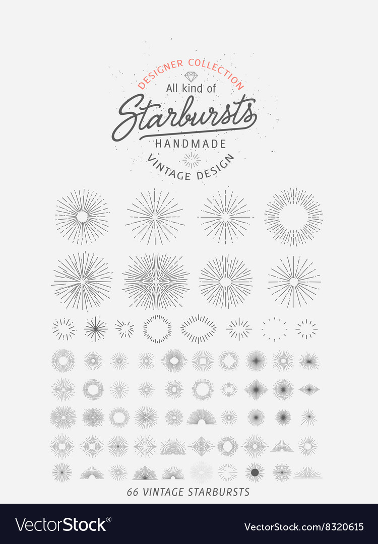 Collection of trendy hand drawn retro sunburst bu vector