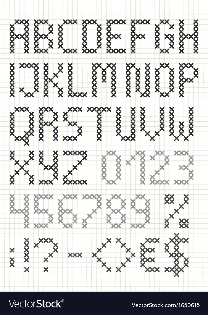 Cross stitch english alphabet vector