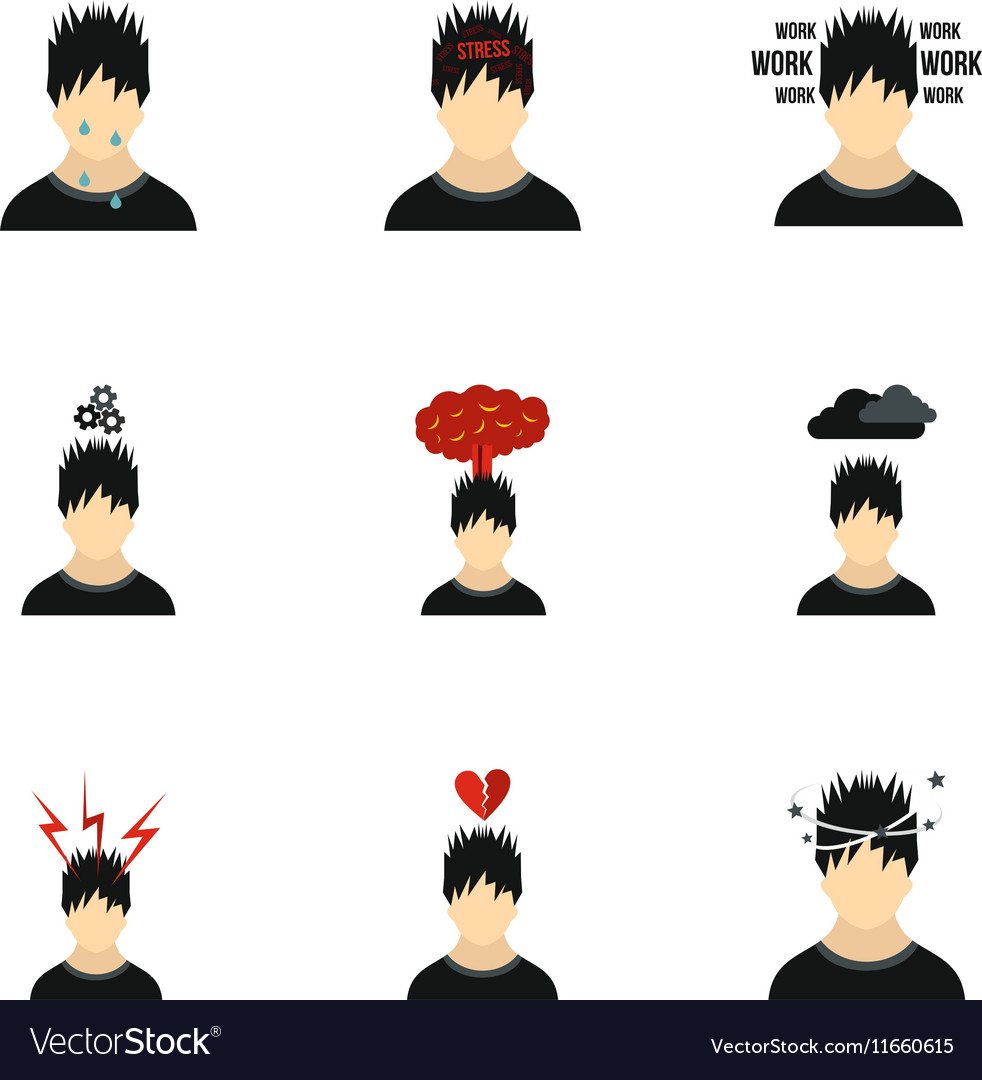 Emotions types icons set flat style vector