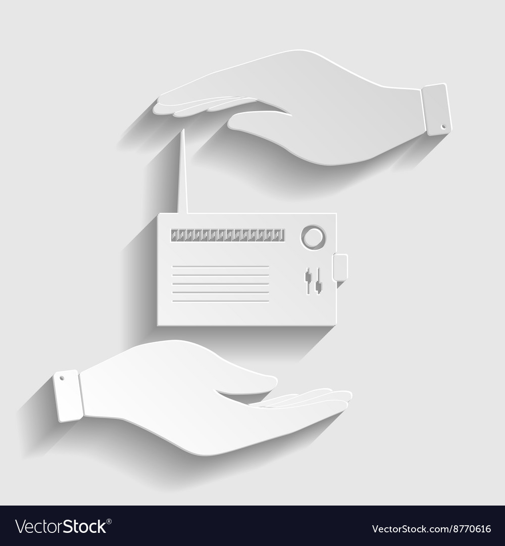 Radio sign paper style icon vector