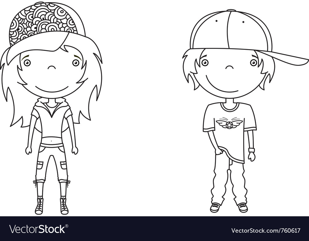 Cute modern boy and girl vector