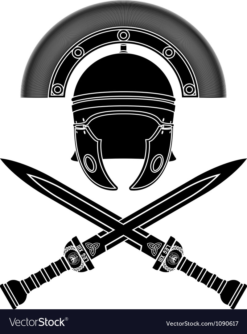 Roman helmet and swords third variant vector