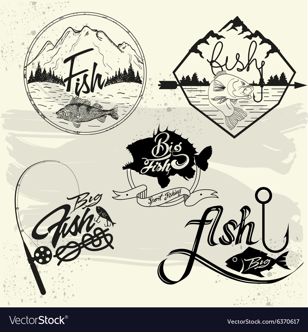 Set of fishing club labels design elements vector