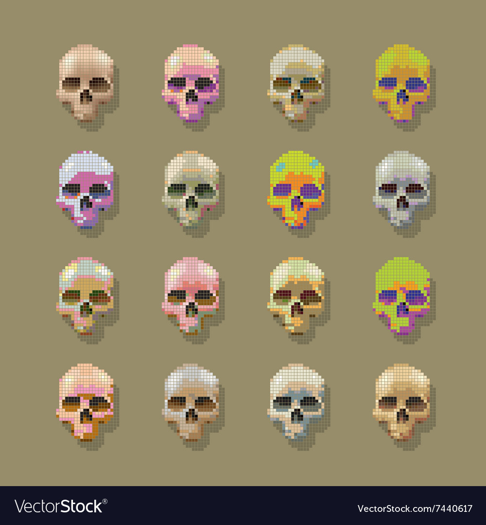 Skulls pixel multicolored vector