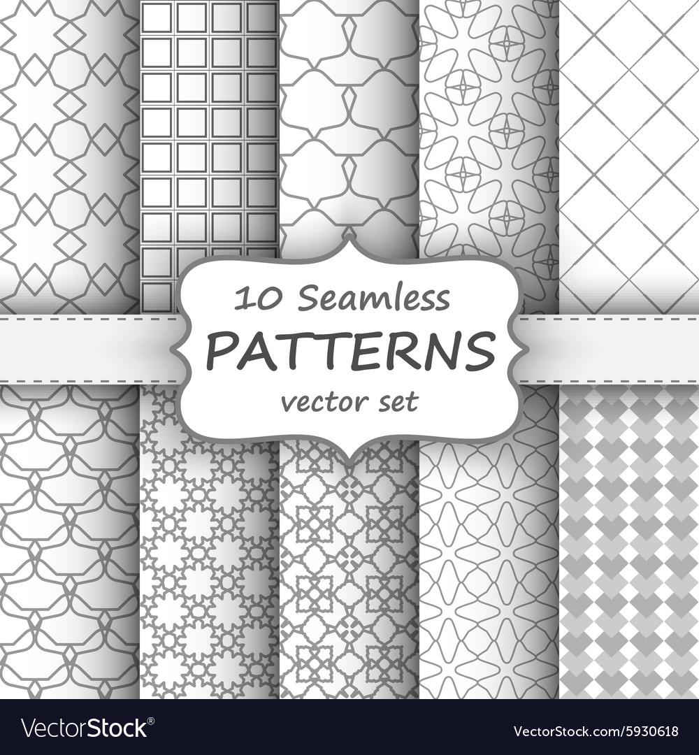 10 seamless geometric patterns set grey and white vector