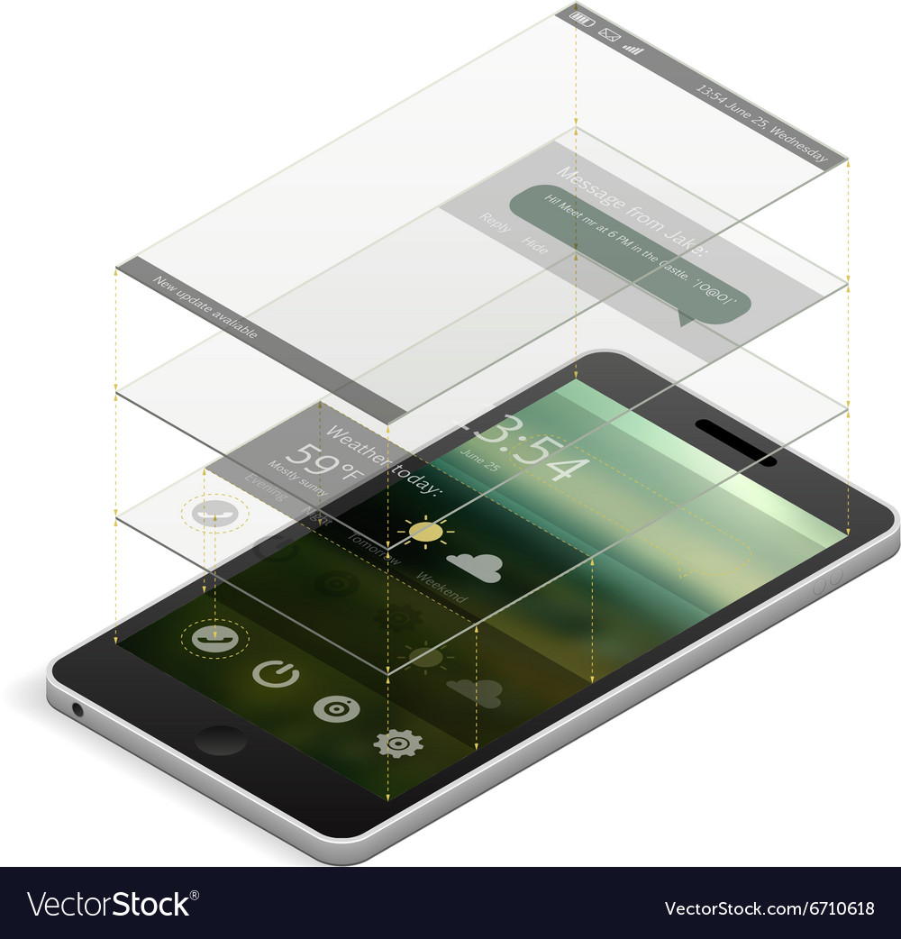 Smartphone screen scheme vector