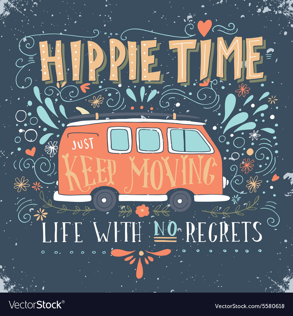 Vintage hippie time print with a mini van vector