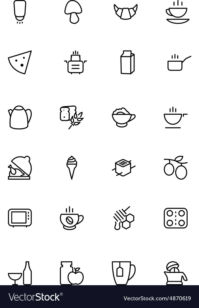 Food outline icons 9 vector