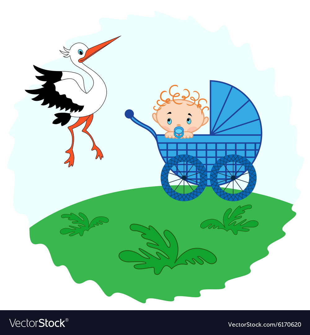 Baby boy in a and stork beside him vector