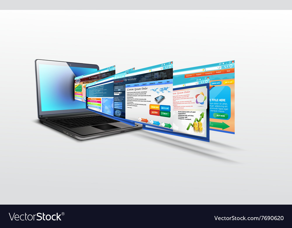 Laptop with of template website vector