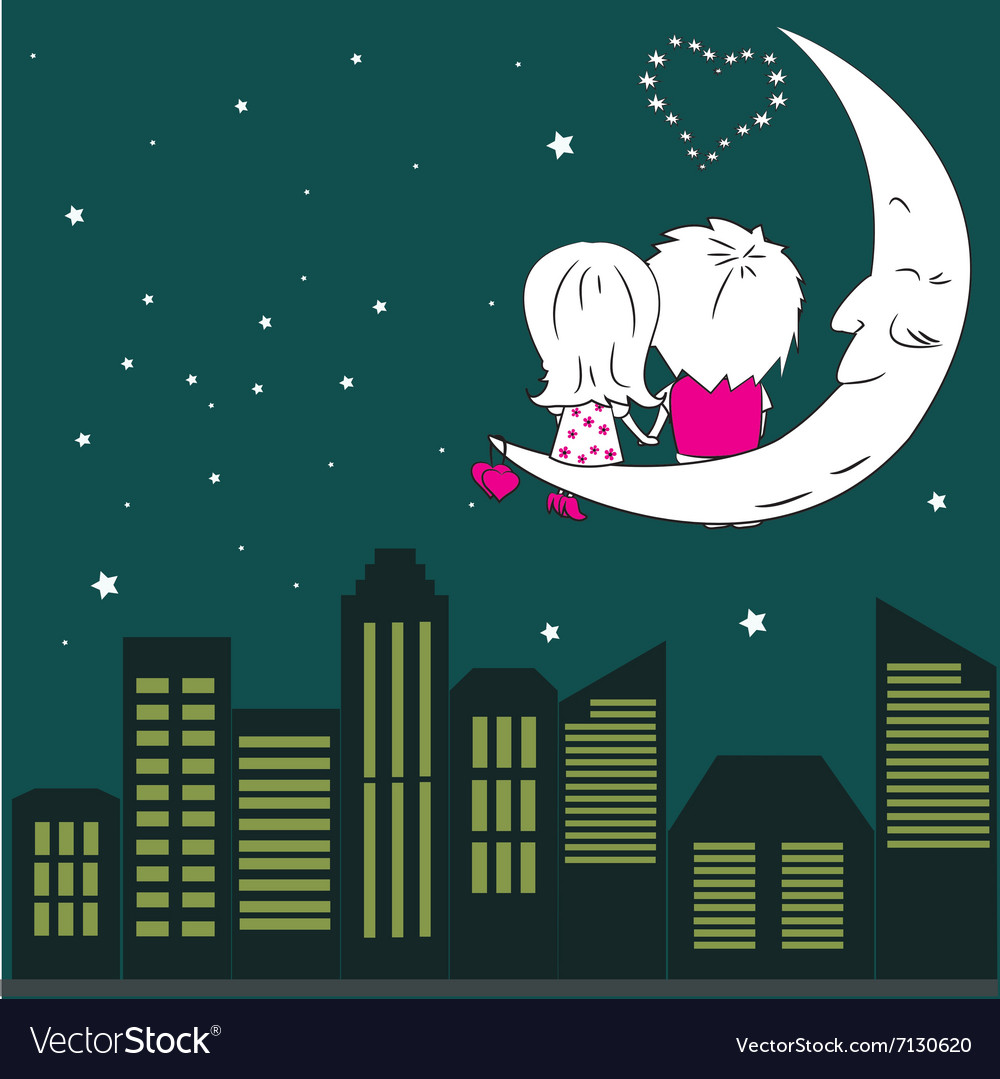 Loving couple man and woman sitting on the moon in vector