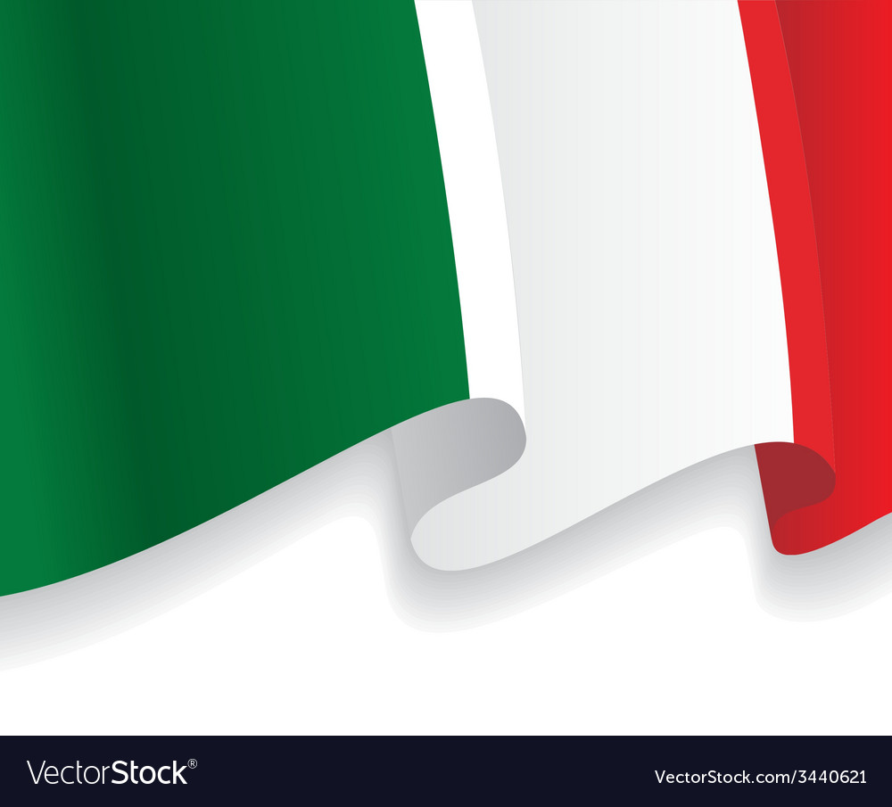 Background with waving italian flag vector