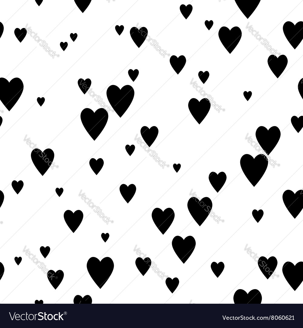 Black and white seamless pattern with hearts vector