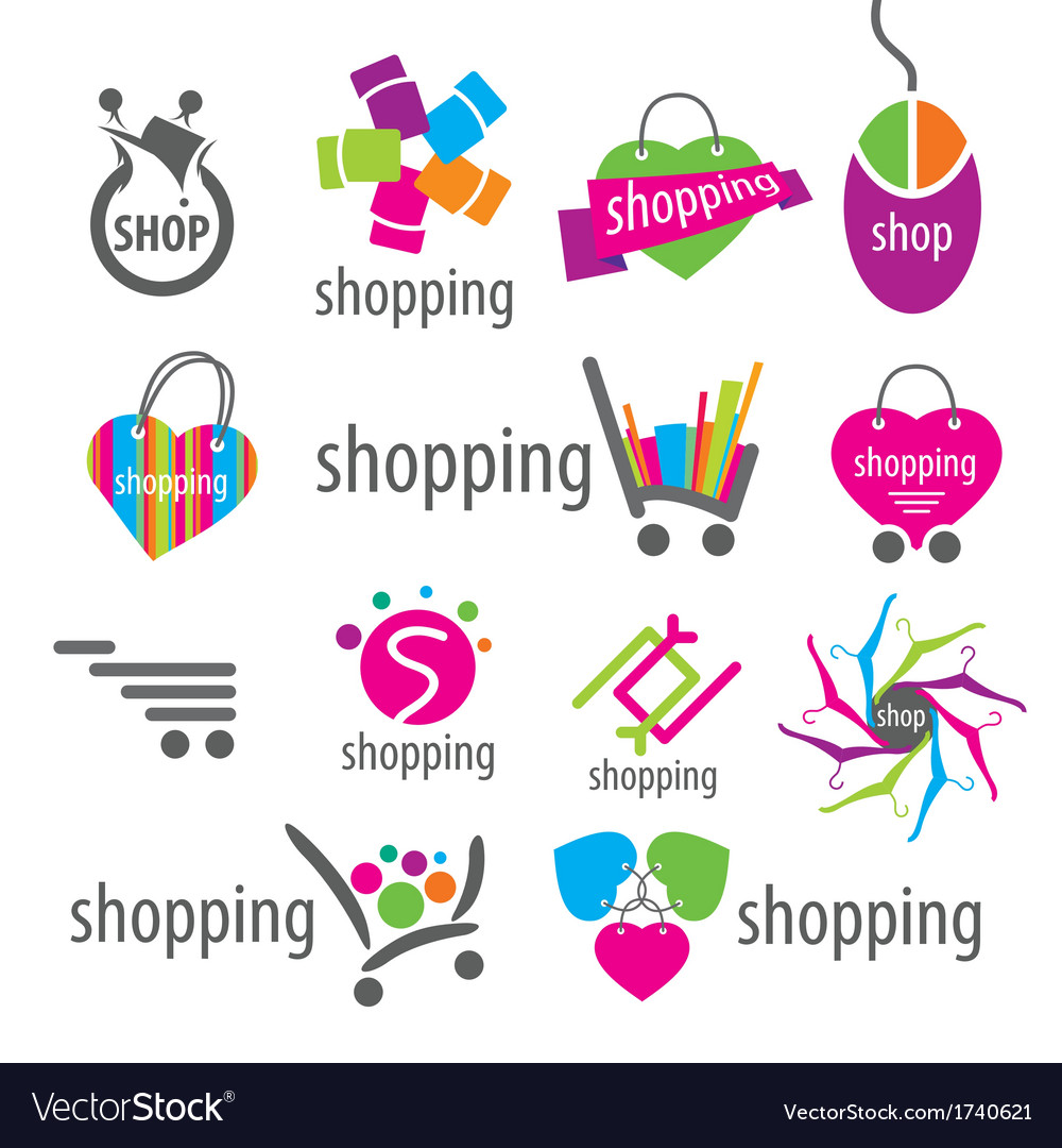 Collection of logos and shopping discounts vector