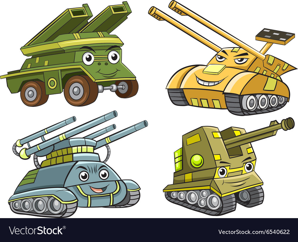 A group of tank cartoon vector