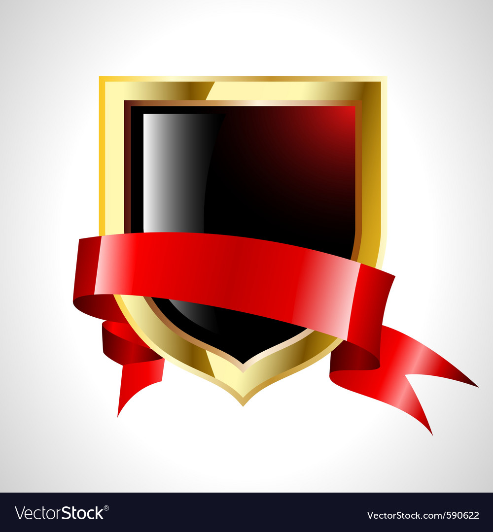 Abstract shield with tape vector