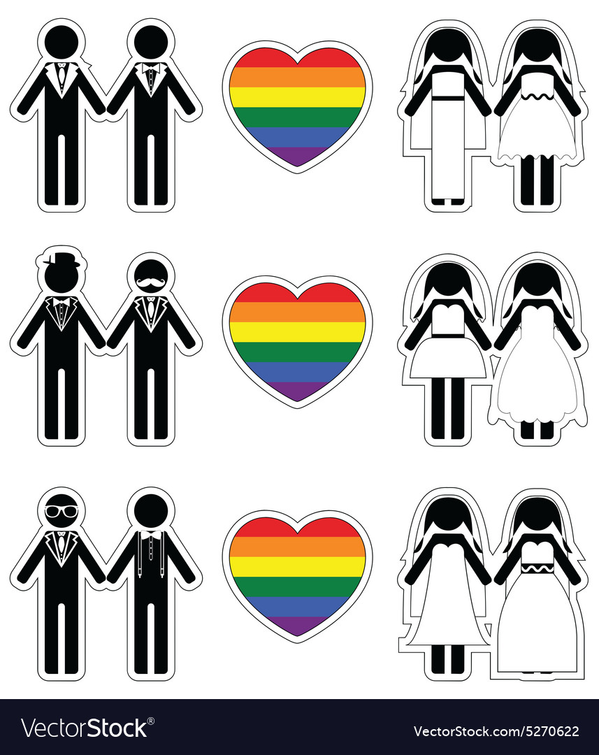 Lesbian brides and gay grooms icon 3 set vector