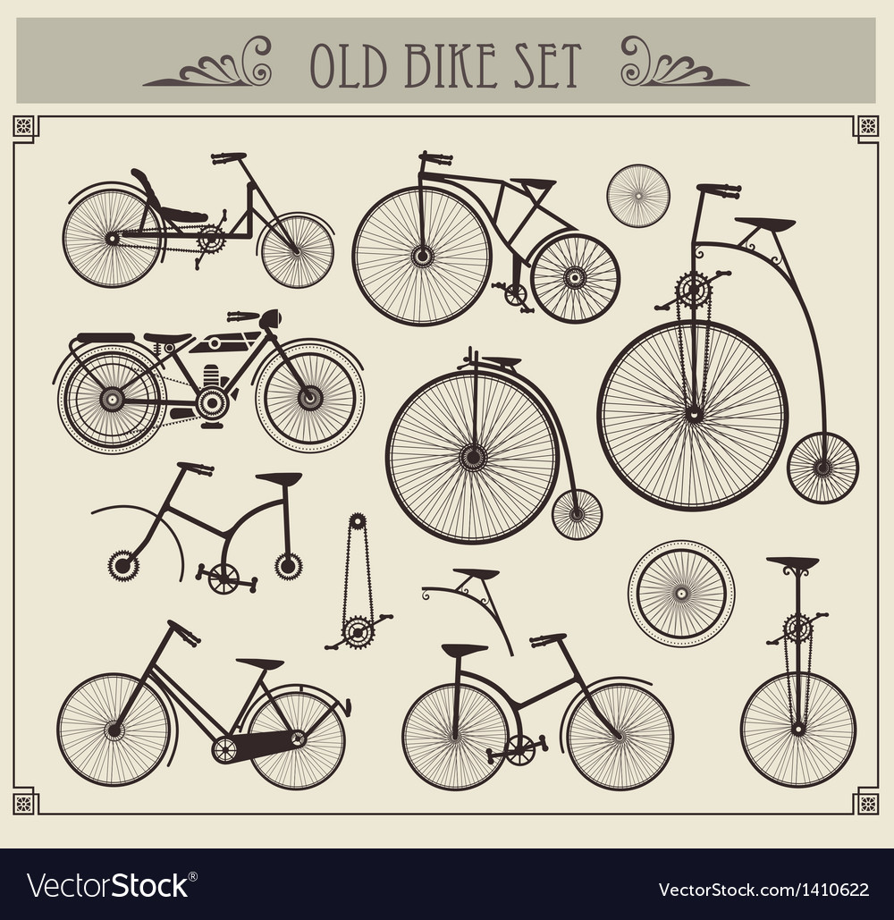 Old bikes vector