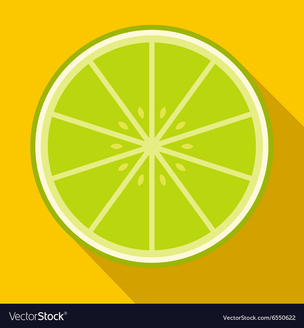 Sliced lime flat icon vector
