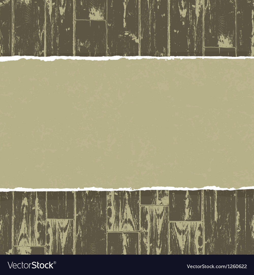 Torn paper on wooden background vector