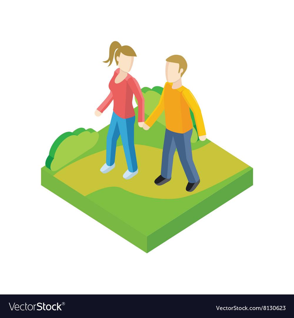 Couple walk in park design flat vector