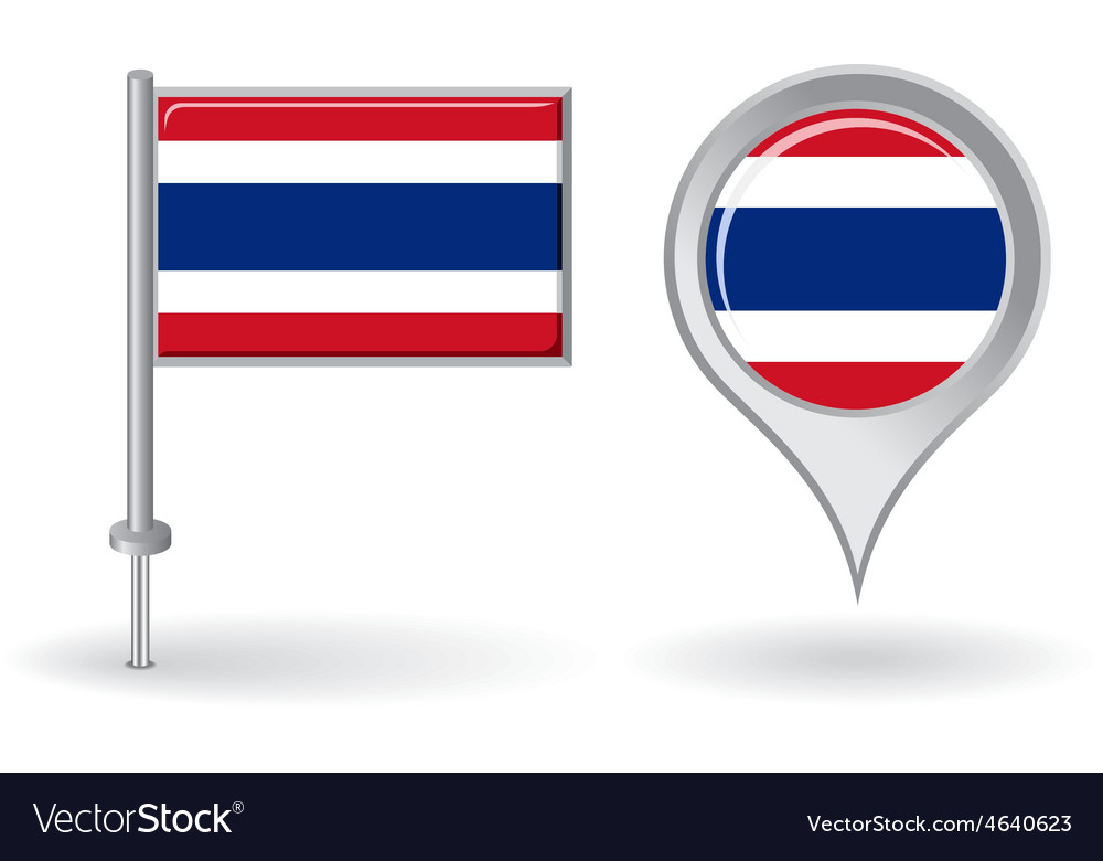 Thai pin icon and map pointer flag vector