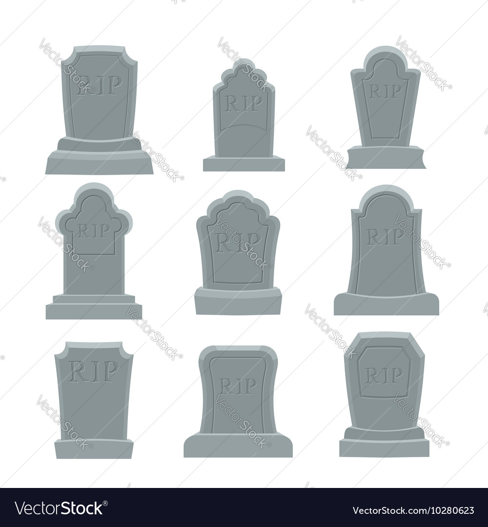 Tomb set ancient rip collection of gravestones vector