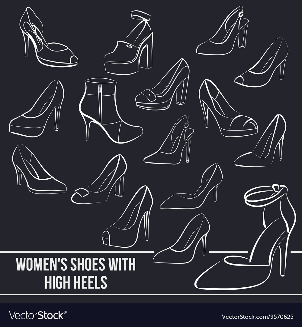 Set of women s shoes with high heels painted vector