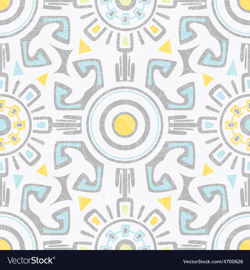 Grey blue yellow tribal seamless pattern vector