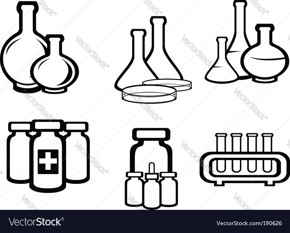 Science and medical flasks vector