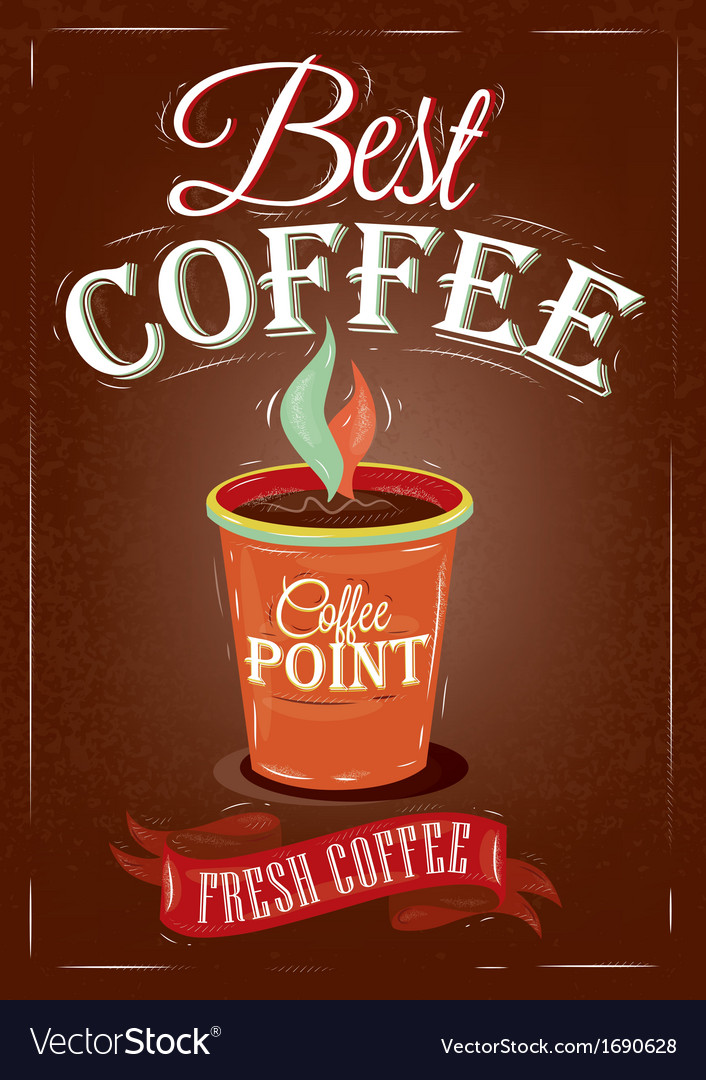Retro poster in vintage style with drawing cup vector