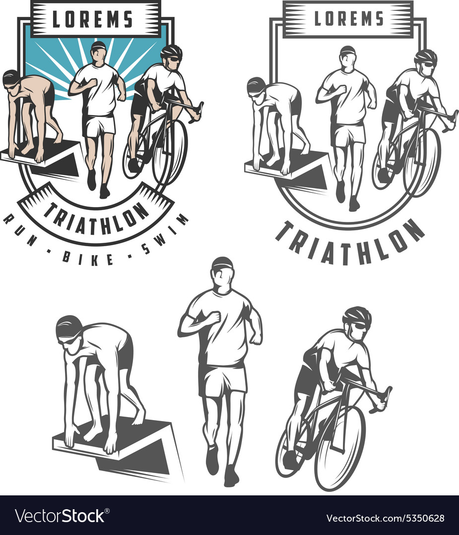 Triathlon emblems and design elements vector