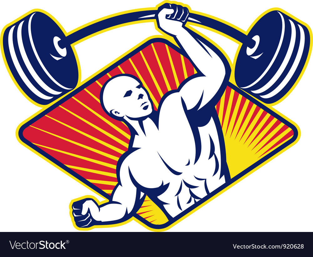 Weight lifter body builder vector