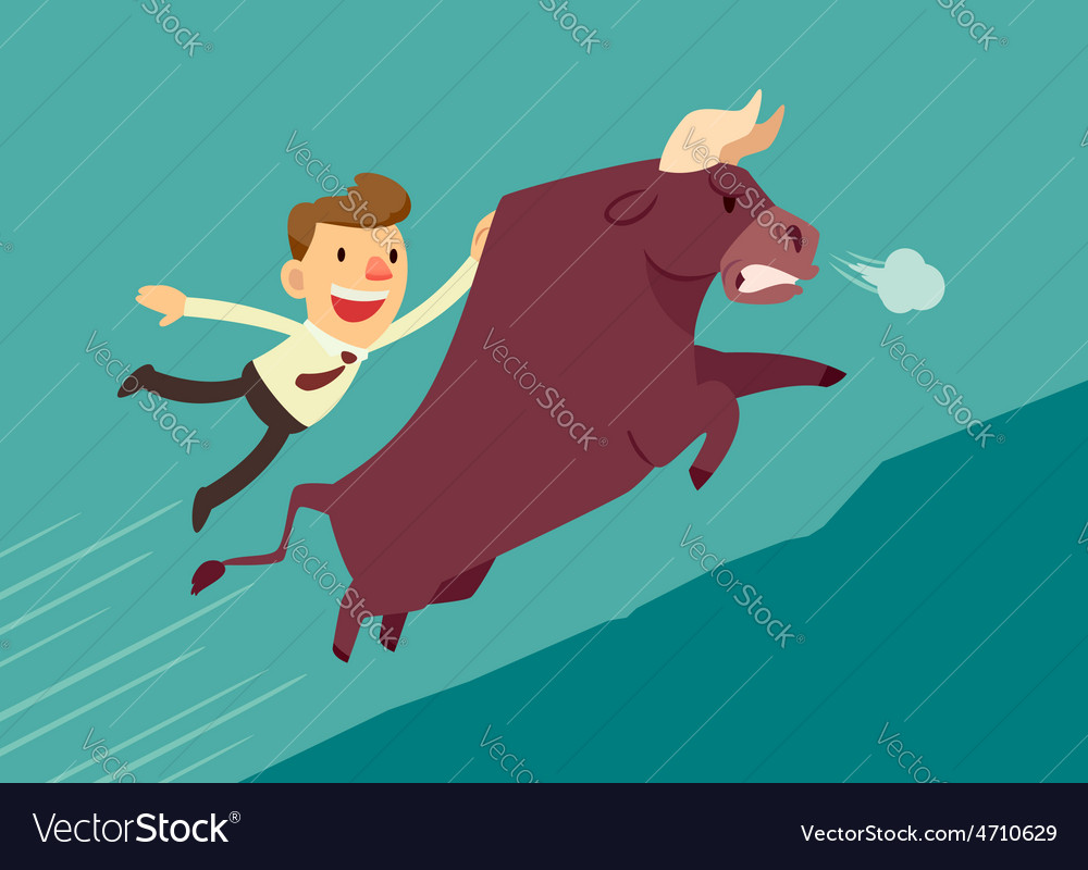 Bussiness man on a bull vector