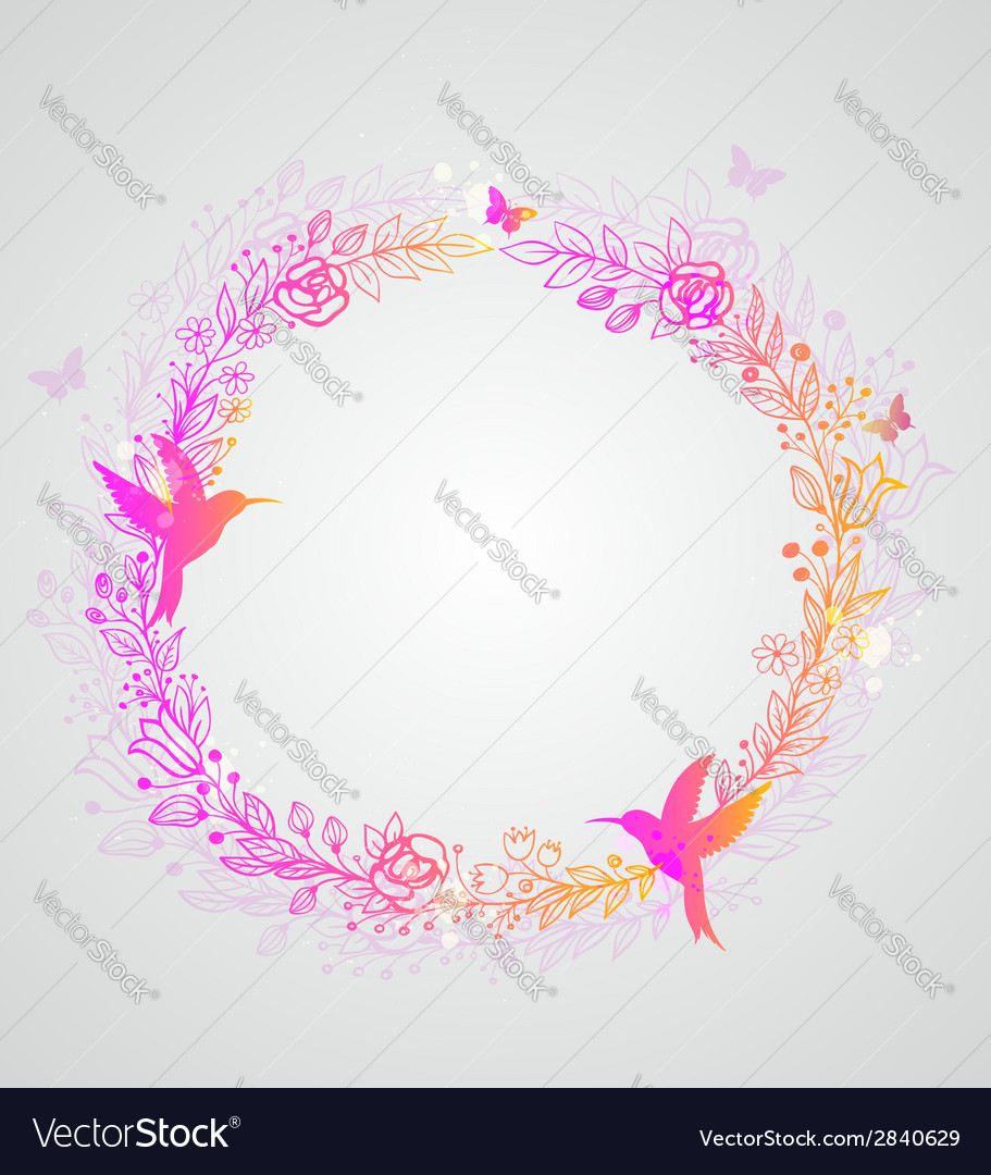 Decorative hand drawn wreath of flowers vector