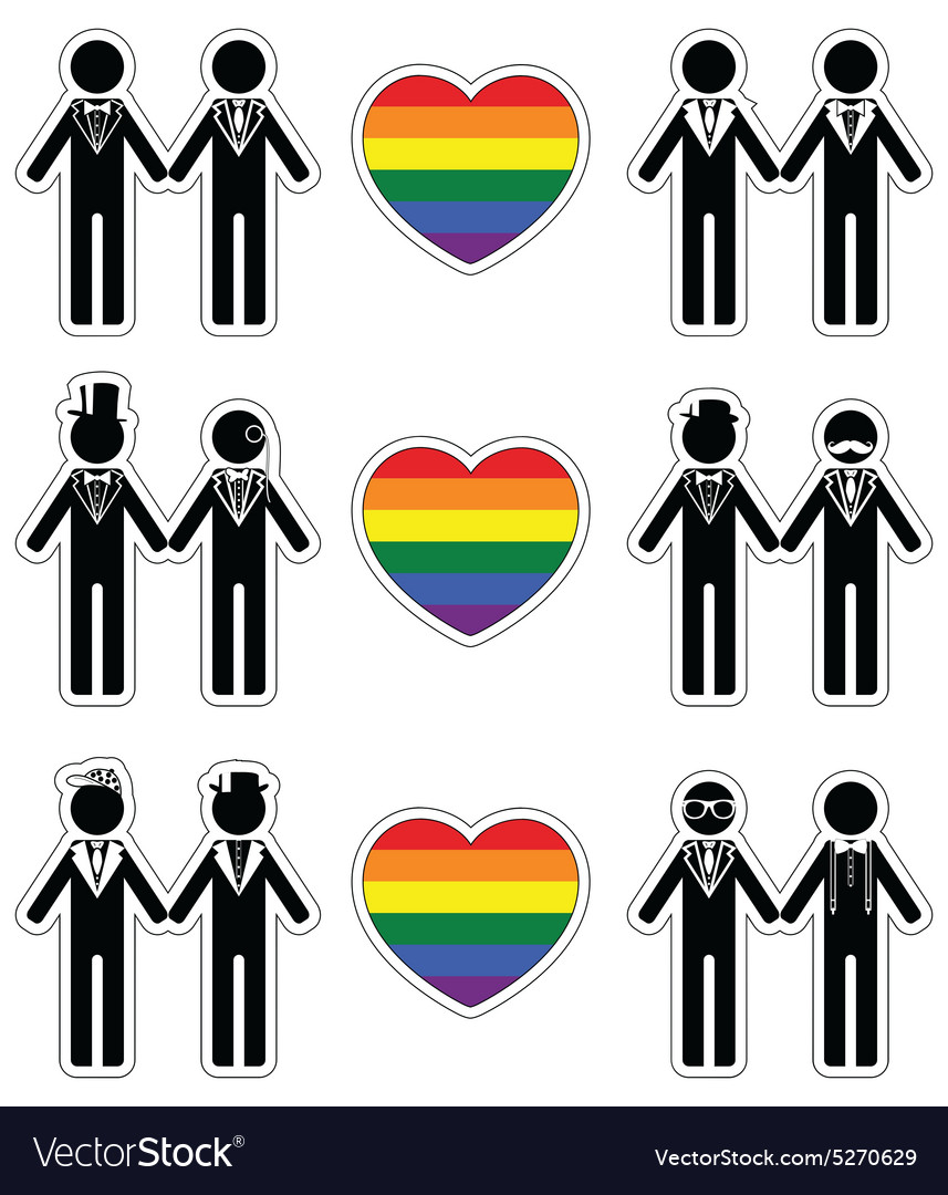 Gay man grooms icon set with rainbow element vector