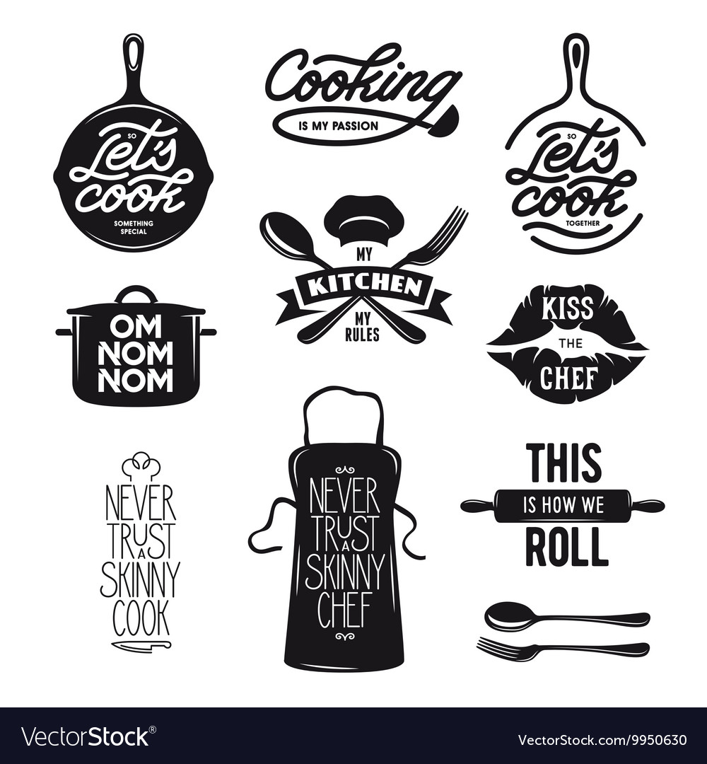 Cooking related typography set quotes about vector