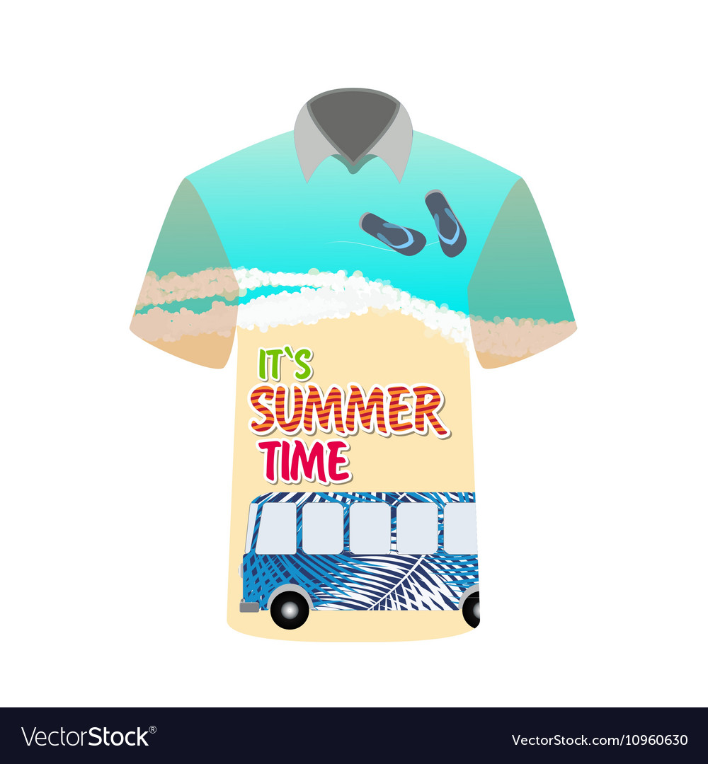 Tshirt with image of sea bus for trip to rest vector