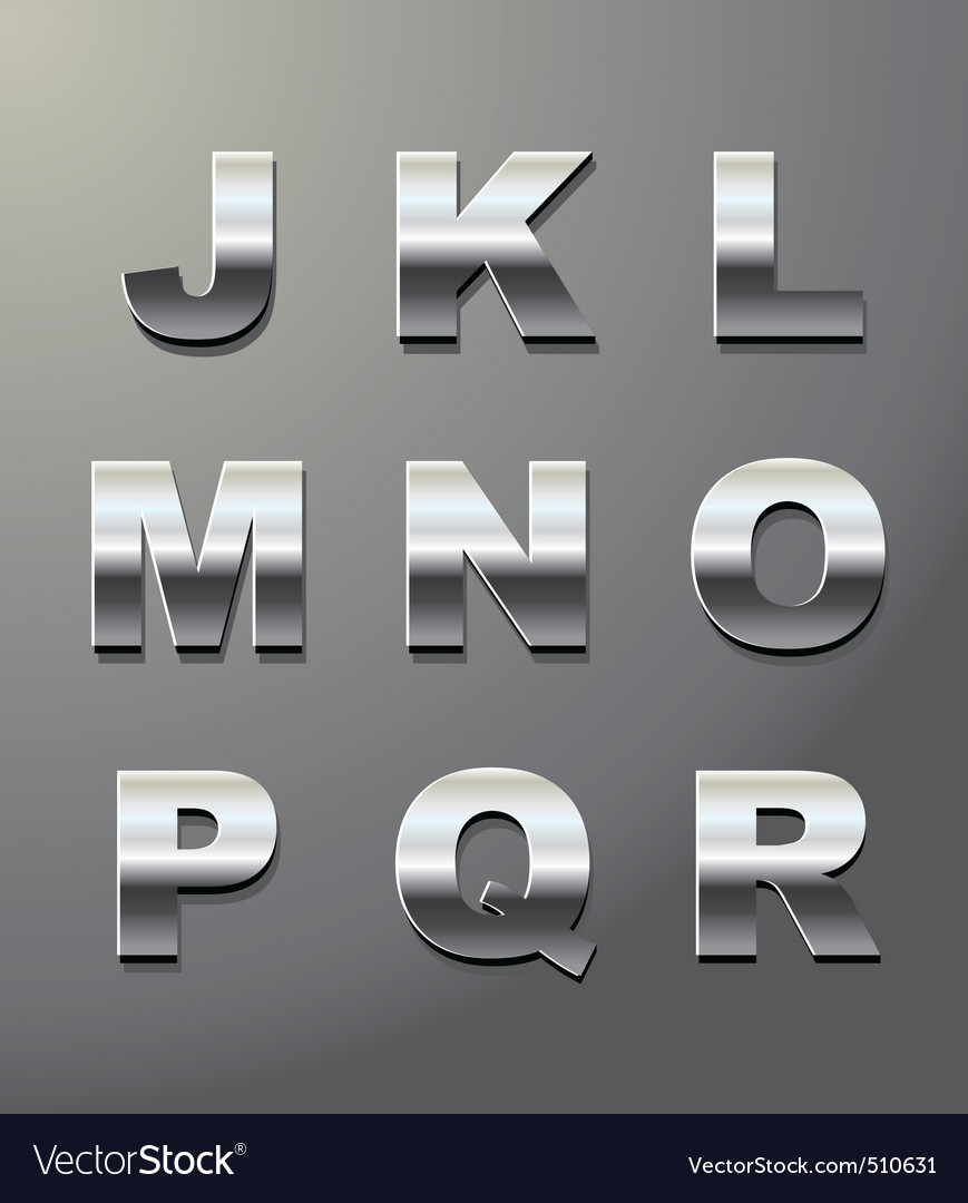 Shiny metal letters vector