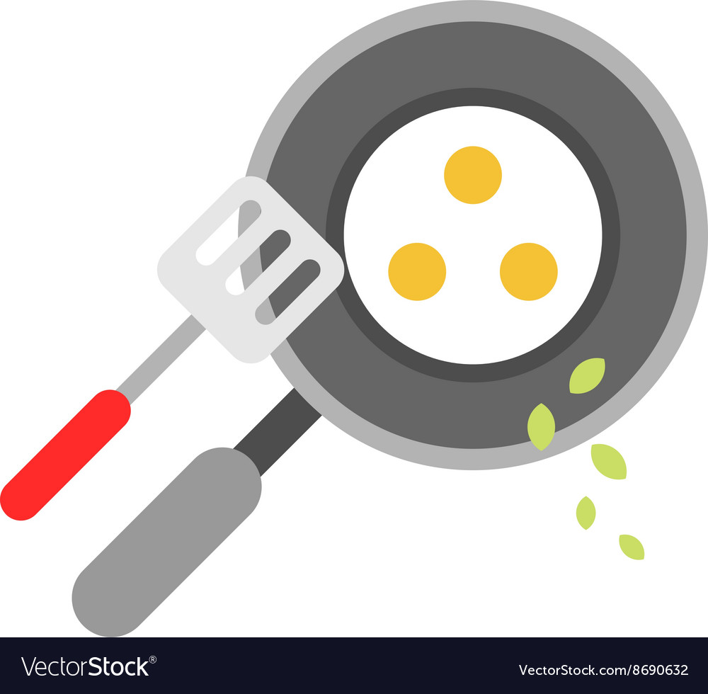 Eggs fried in a pan isolated flat style vector