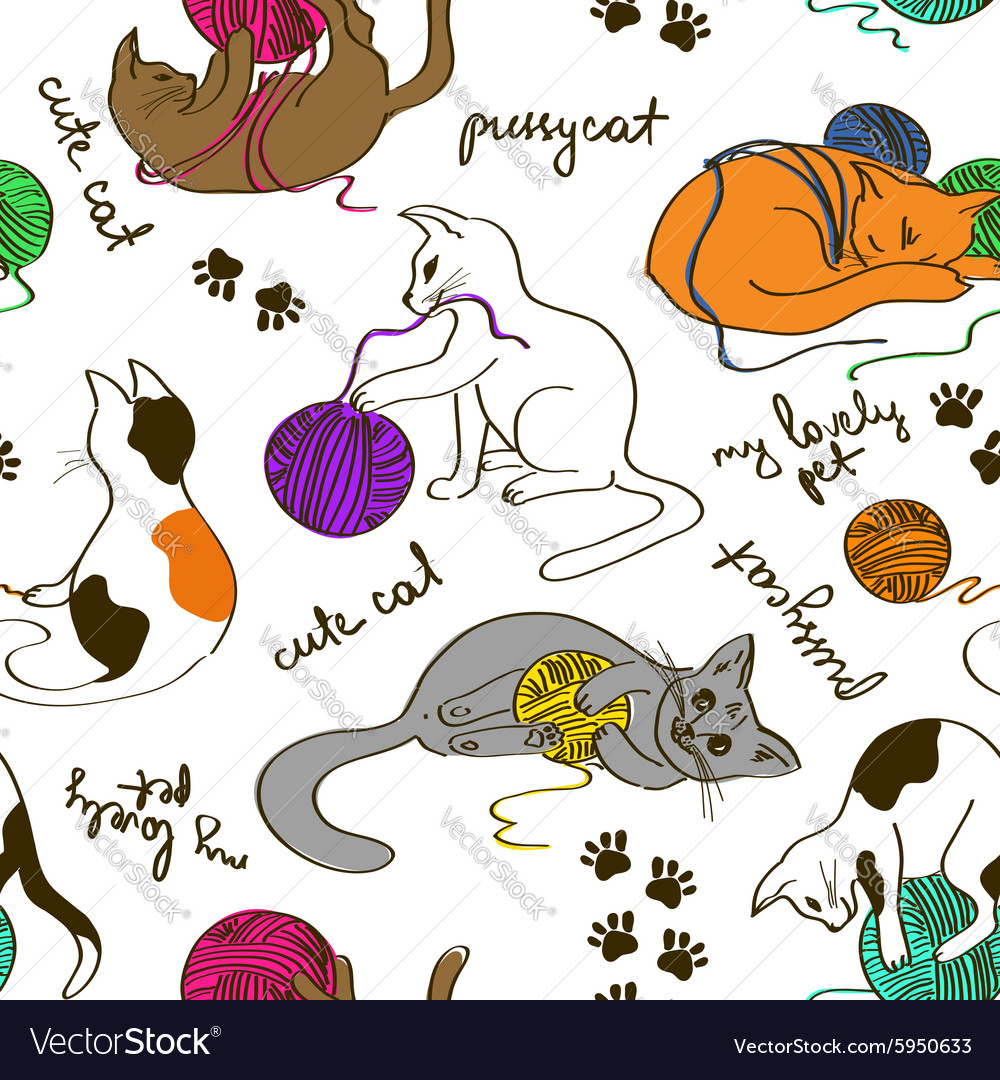 Seamless pattern with cats playing ball of yarn vector