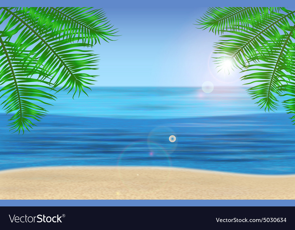 Sea palm trees and tropical beach under blue vector