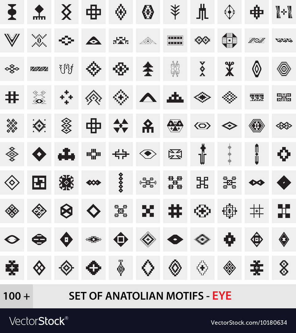 Set of anatolian turkish motifs  eye vector