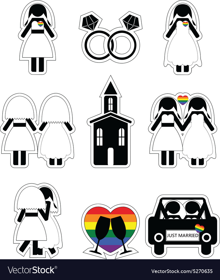 Gay woman wedding 2 icons set with rainbow element vector