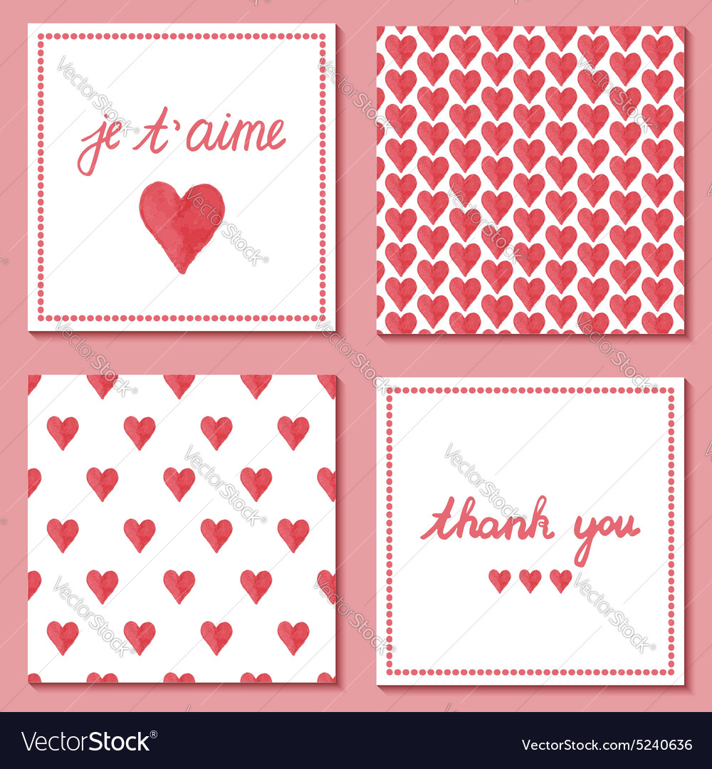 Set of cute postcards vector