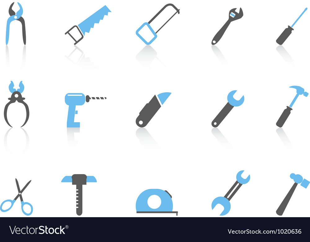 Simple hand tool iconscolor series vector