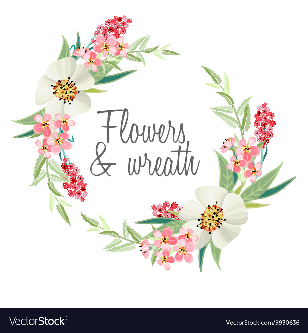 Wreath with beautiful flowers vector