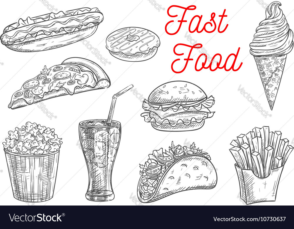 Fast food snacks and drinks icons sketch vector