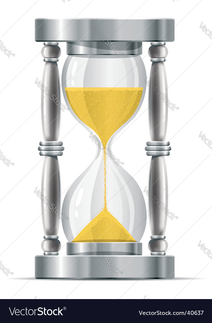 Silver sand glass clock vector