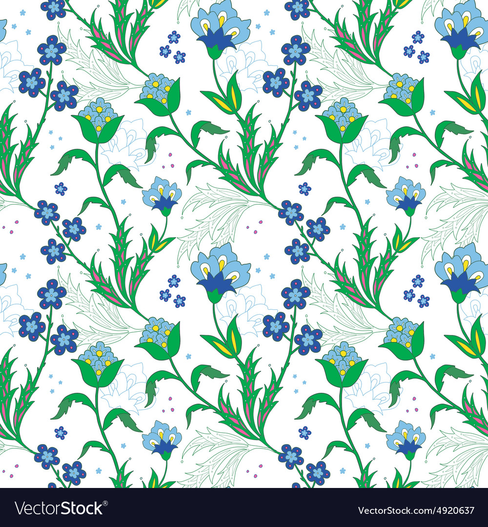 Turkish field flowers seamless pattern vector